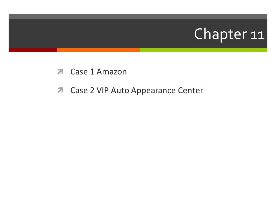 Chapter 11 Case 1 Amazon Case 2 VIP Auto Appearance Center
