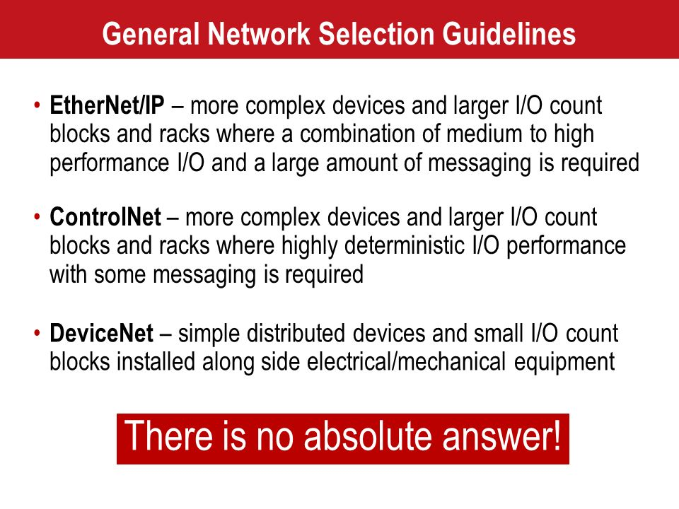 General Network Selection Guidelines