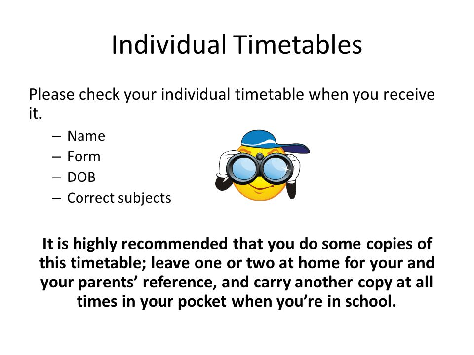 Individual Timetables