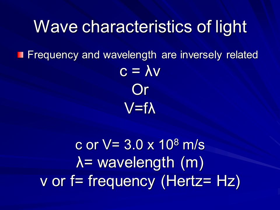 Wave characteristics of light