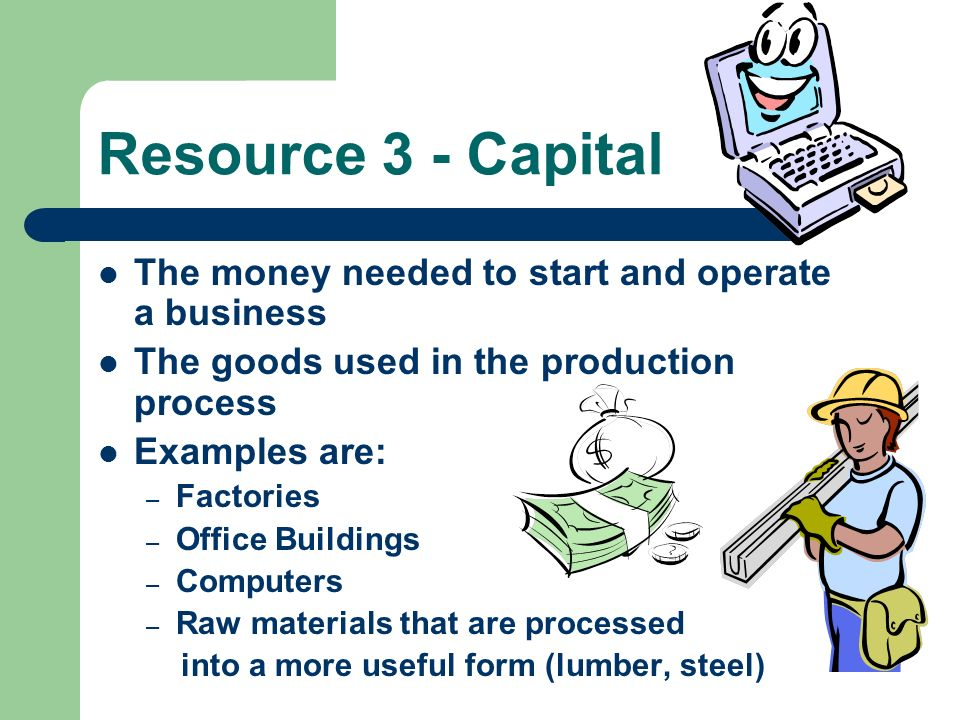 Resource 3 - Capital The money needed to start and operate a business