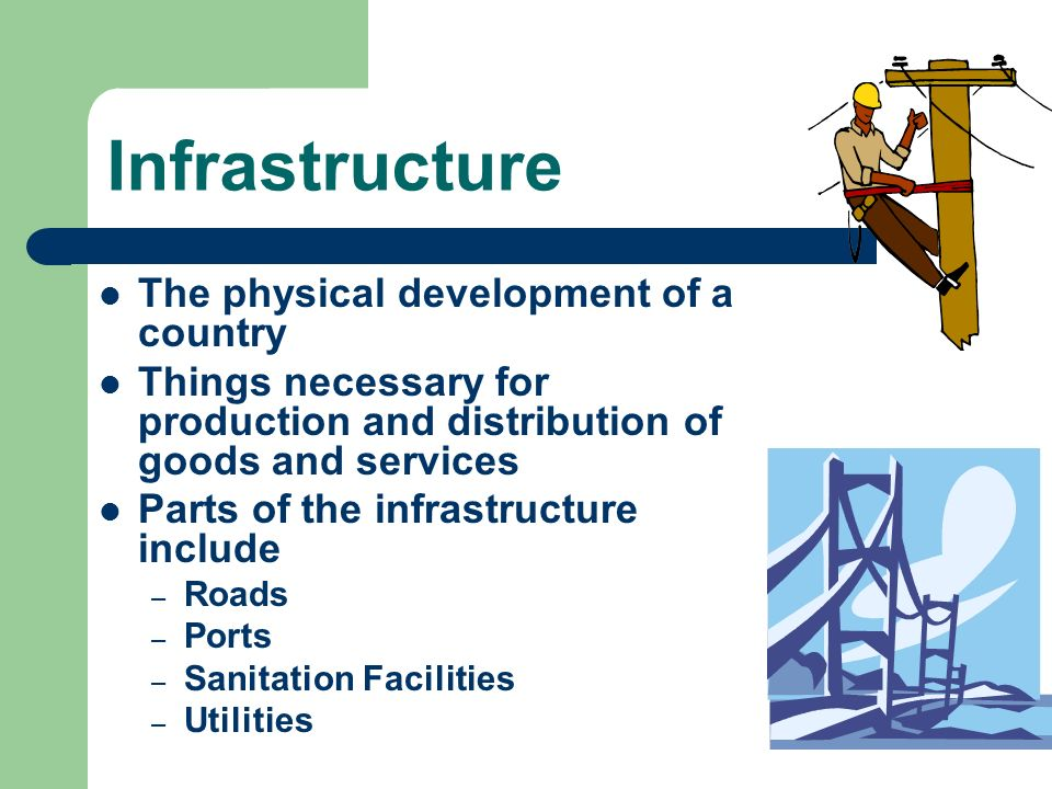 Infrastructure The physical development of a country