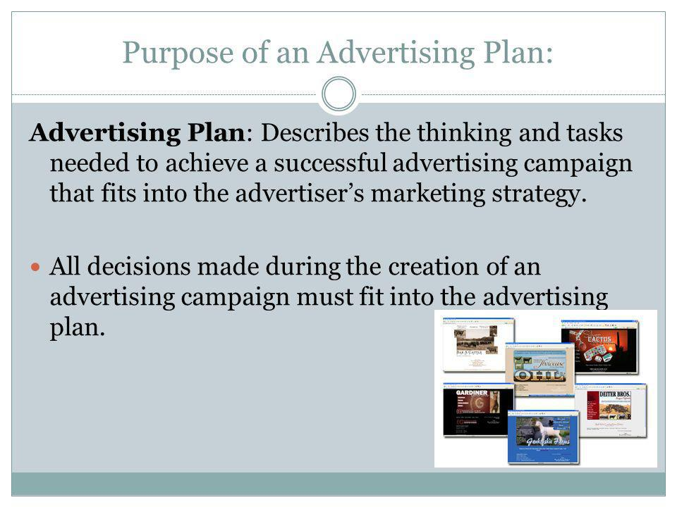 Purpose of an Advertising Plan: