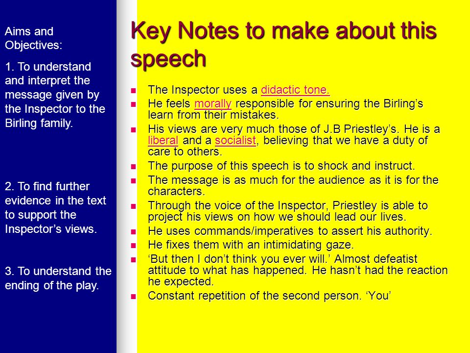 Key Notes to make about this speech