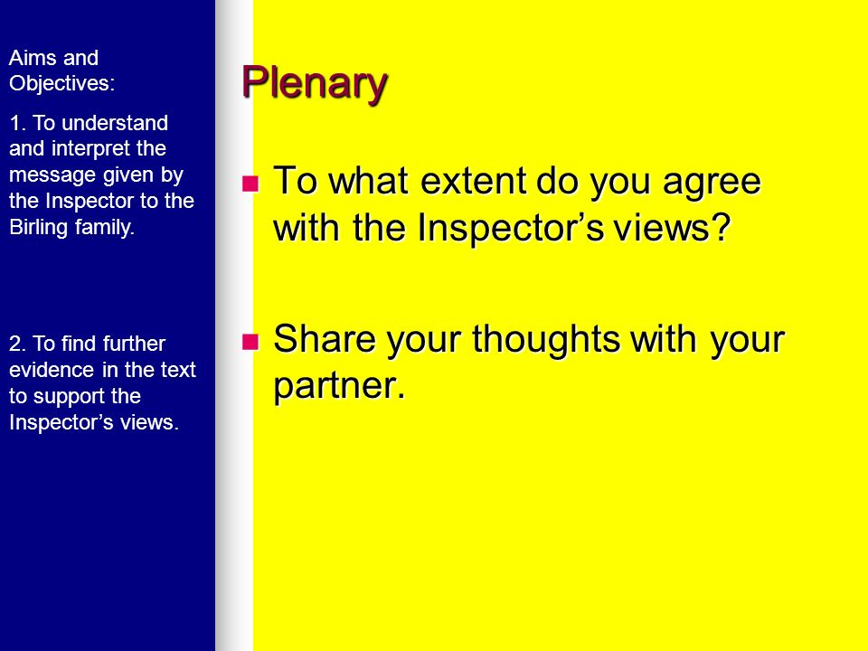 Plenary To what extent do you agree with the Inspector's views