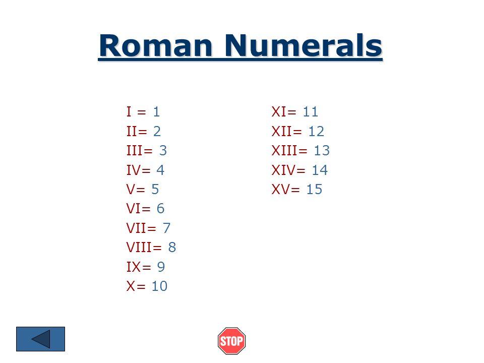 Roman Numerals I = 1 XI= 11 II= 2 XII= 12 III= 3 XIII= 13