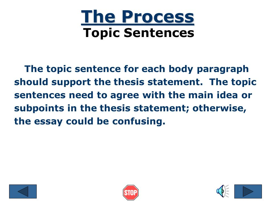 The Process Topic Sentences