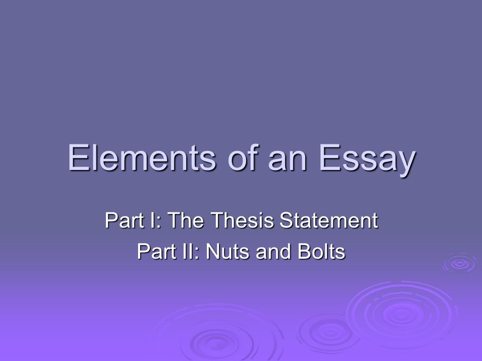 elements of the essay The 5 key components of a narrative essay: professional tips in some sense in truth even those forms have strong elements of tension.