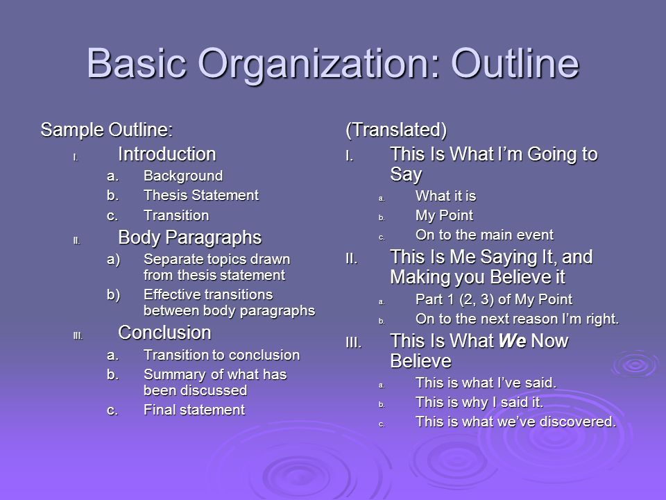 Basic Organization: Outline