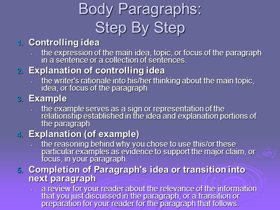 Body Paragraphs: Step By Step