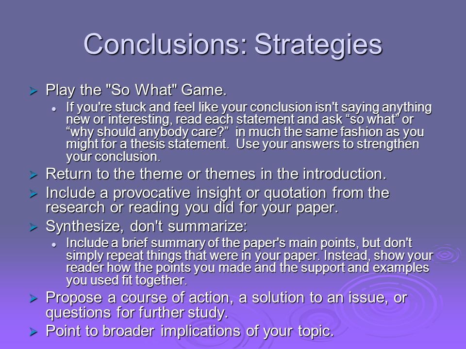 Conclusions: Strategies