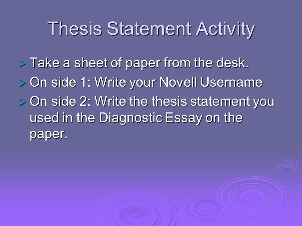 Thesis Statement Activity