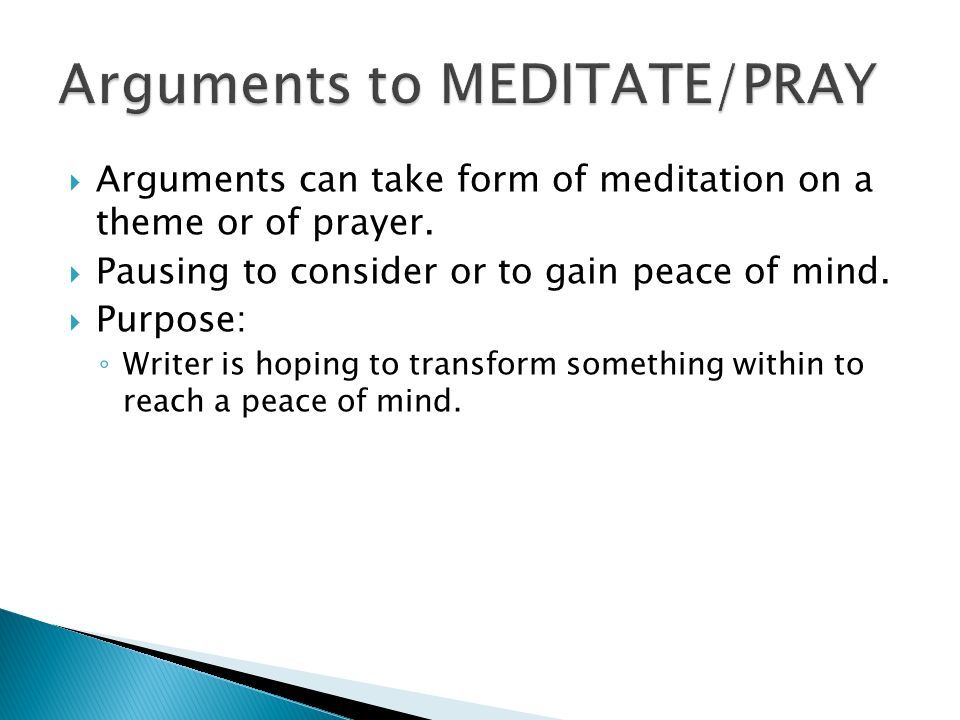 Arguments to MEDITATE/PRAY