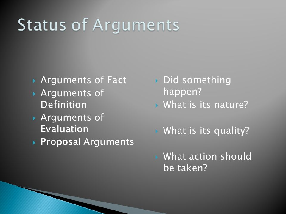 Status of Arguments Arguments of Fact Arguments of Definition
