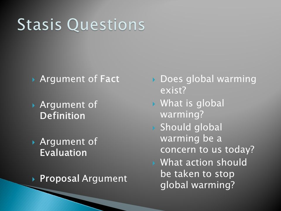 Stasis Questions Argument of Fact Argument of Definition