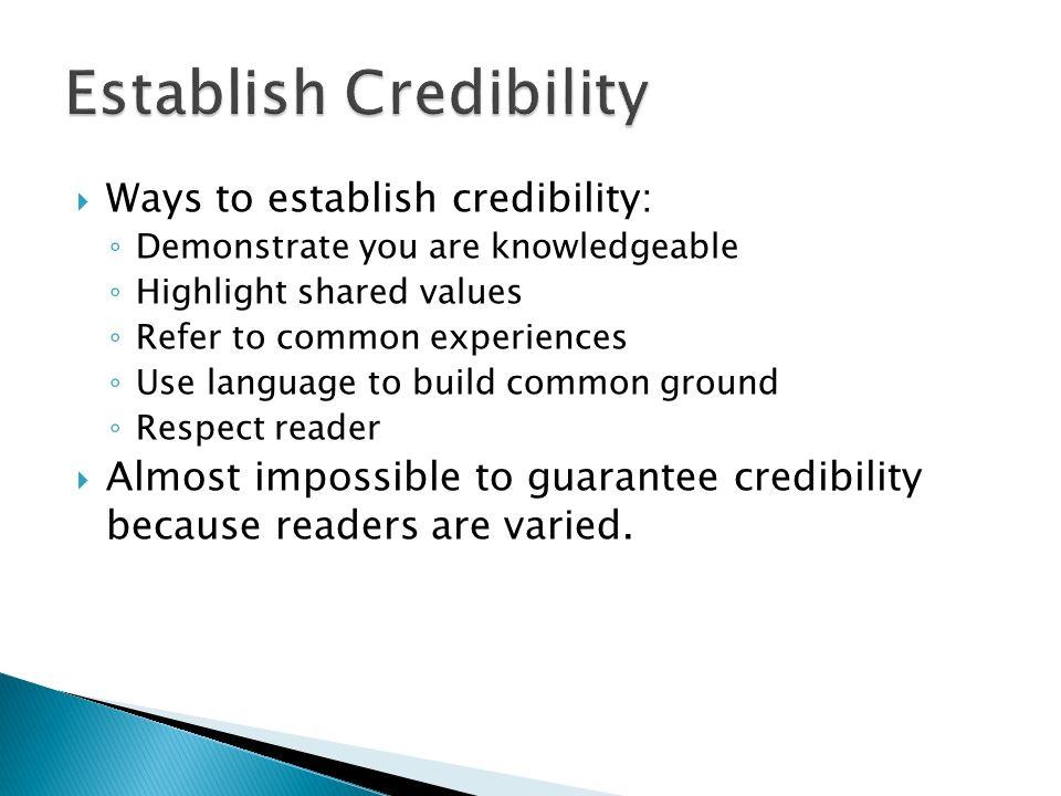 Establish Credibility