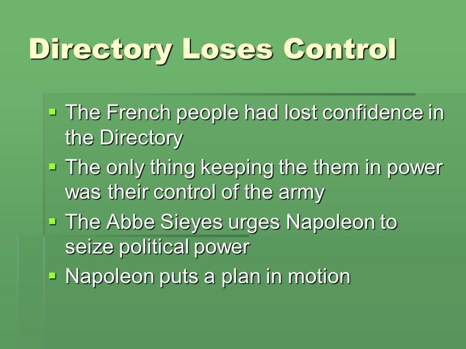 Directory Loses Control
