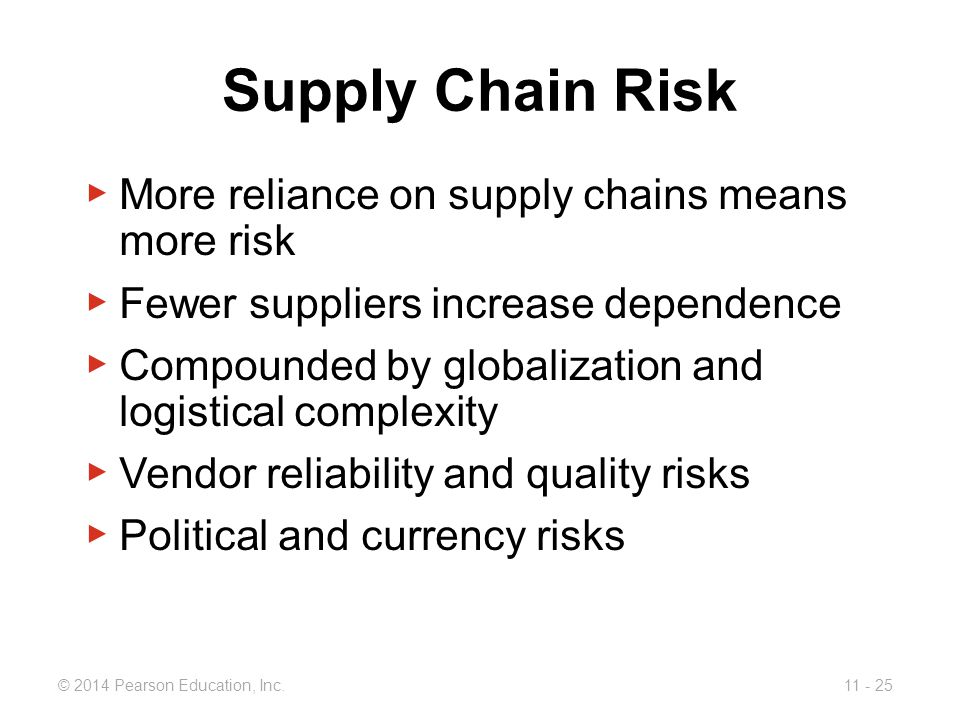 Supply Chain Risk More reliance on supply chains means more risk
