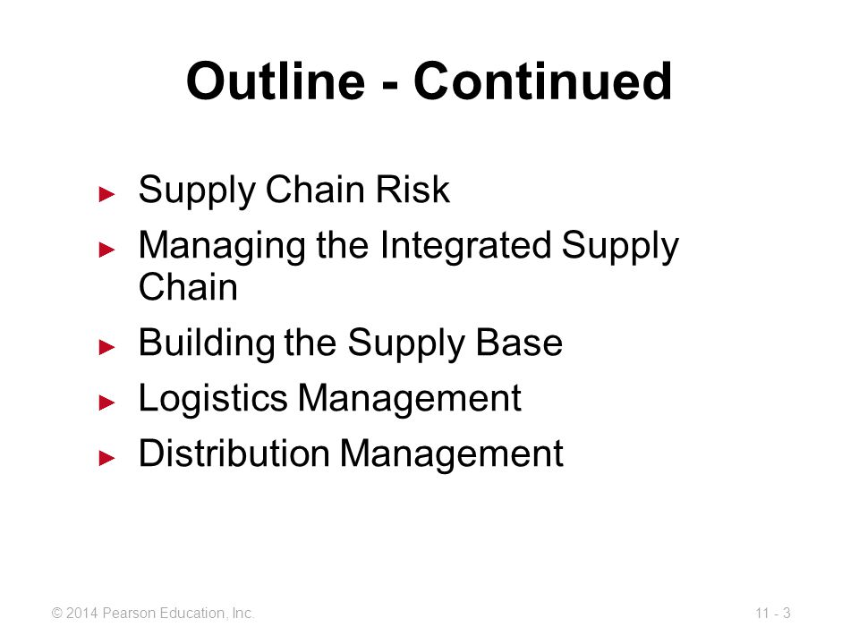 Outline - Continued Supply Chain Risk