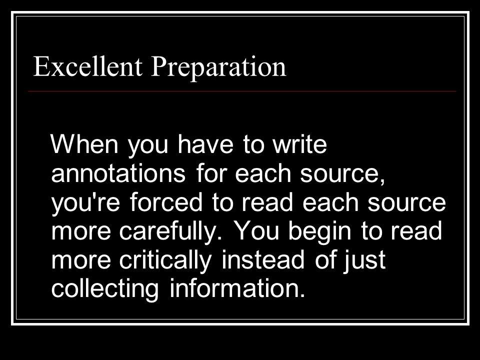 Excellent Preparation