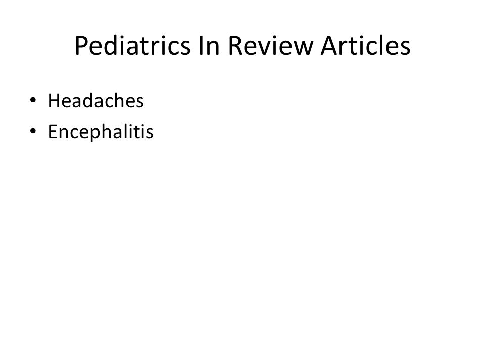 Pediatrics In Review Articles