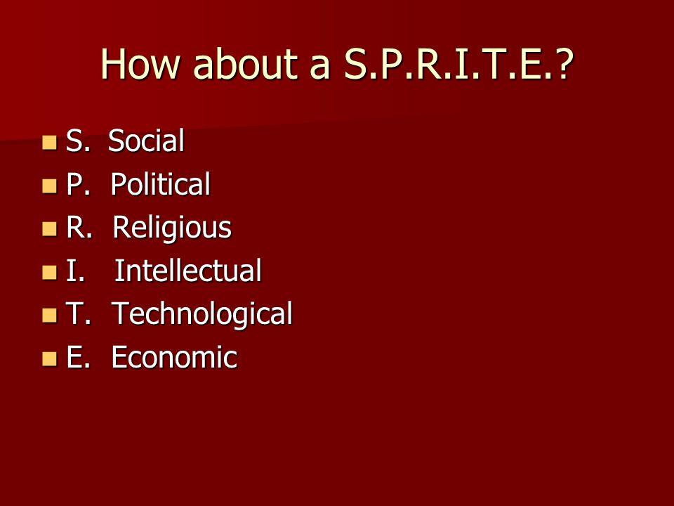 How about a S.P.R.I.T.E. S. Social P. Political R. Religious