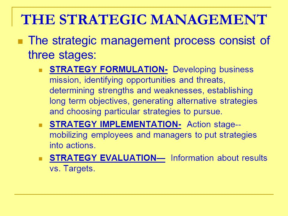 THE STRATEGIC MANAGEMENT