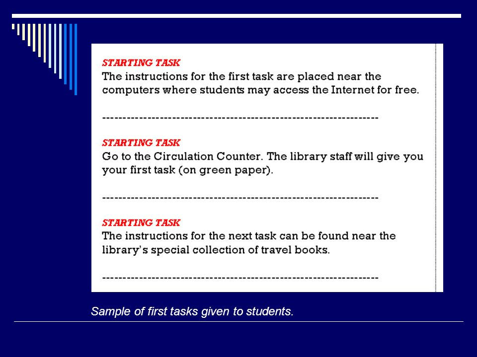 Sample of first tasks given to students.