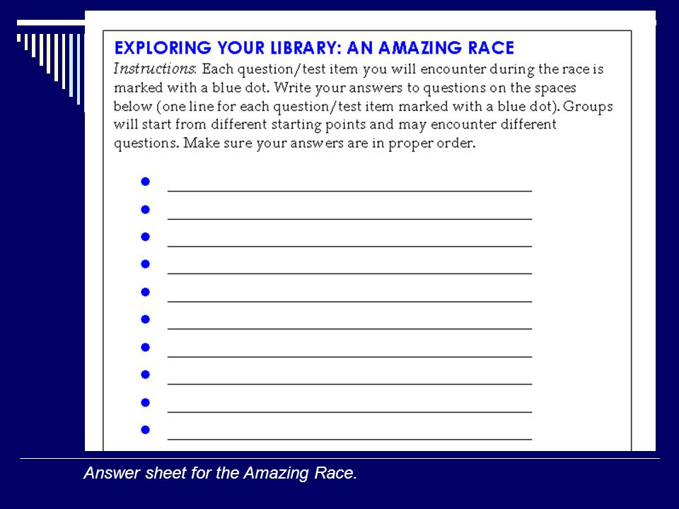 Answer sheet for the Amazing Race.