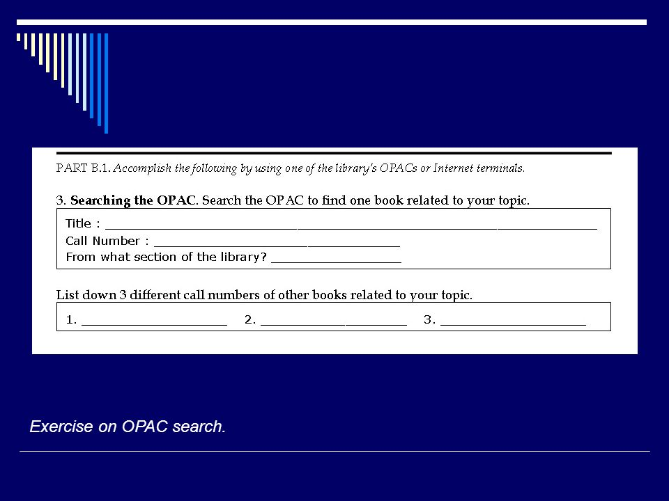 Exercise on OPAC search.