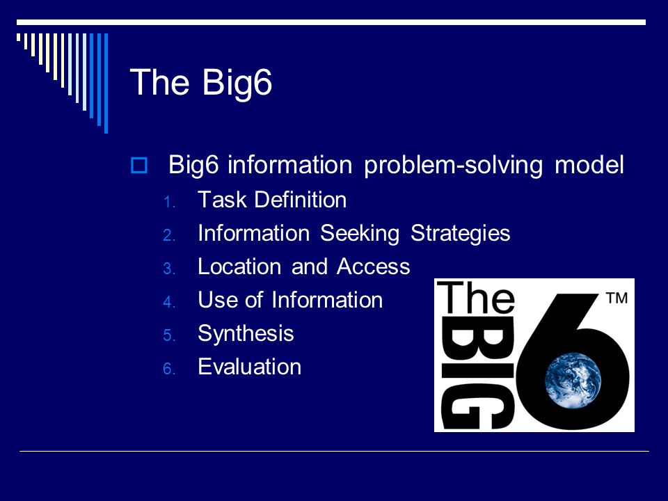 The Big6 Big6 information problem-solving model Task Definition