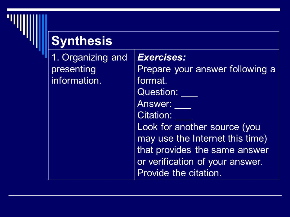 Synthesis 1. Organizing and presenting information. Exercises: