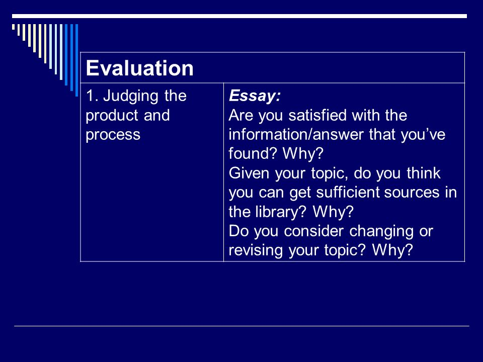 Evaluation 1. Judging the product and process Essay: