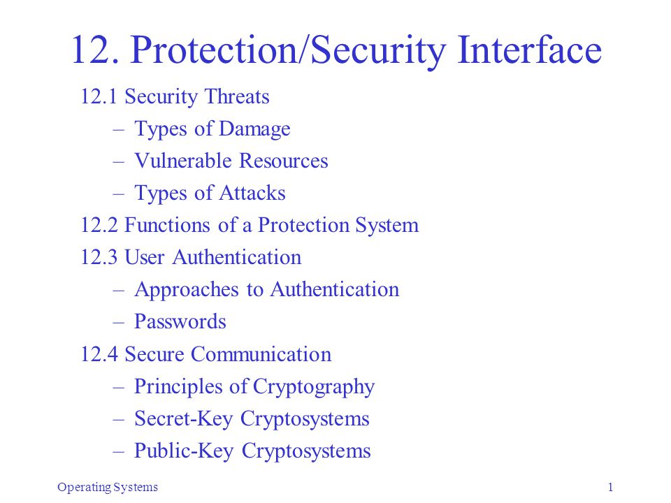 12. Protection/Security Interface