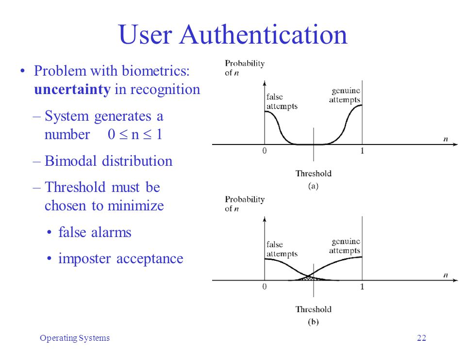 User Authentication Problem with biometrics: uncertainty in recognition. System generates a number 0  n  1.