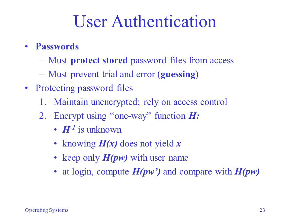 User Authentication Passwords