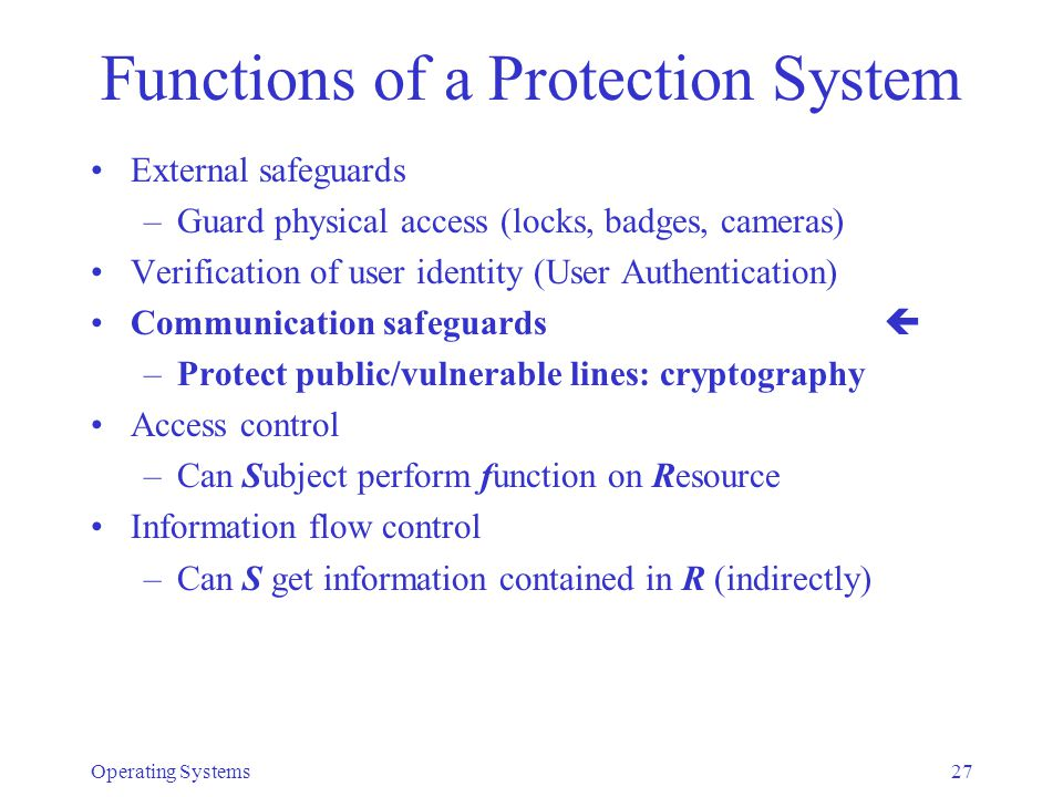 Functions of a Protection System