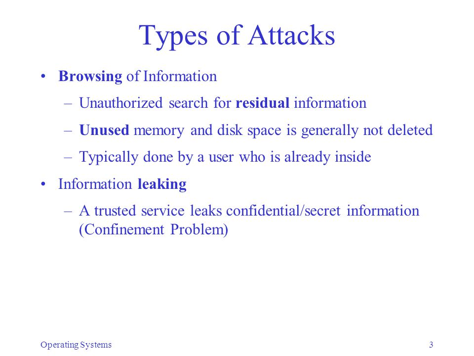 Types of Attacks Browsing of Information