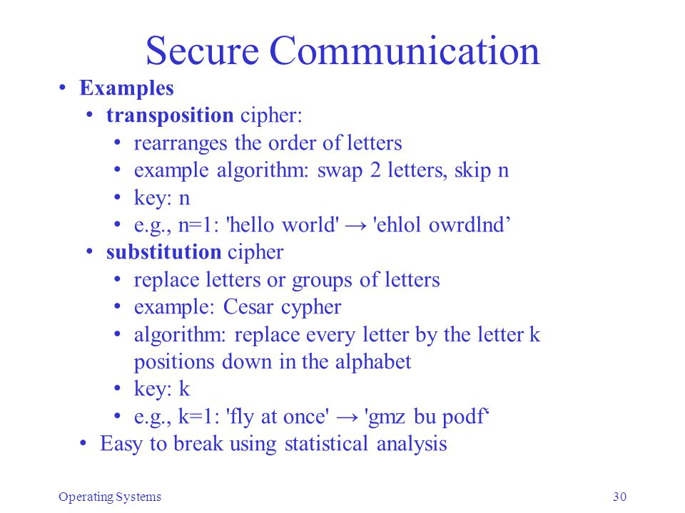 Secure Communication Examples transposition cipher: