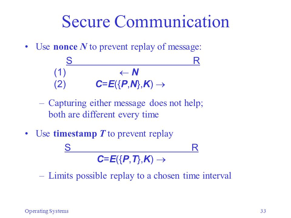 Secure Communication Use nonce N to prevent replay of message: S R