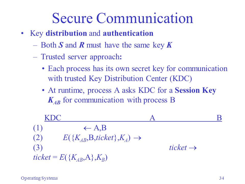 Secure Communication Key distribution and authentication