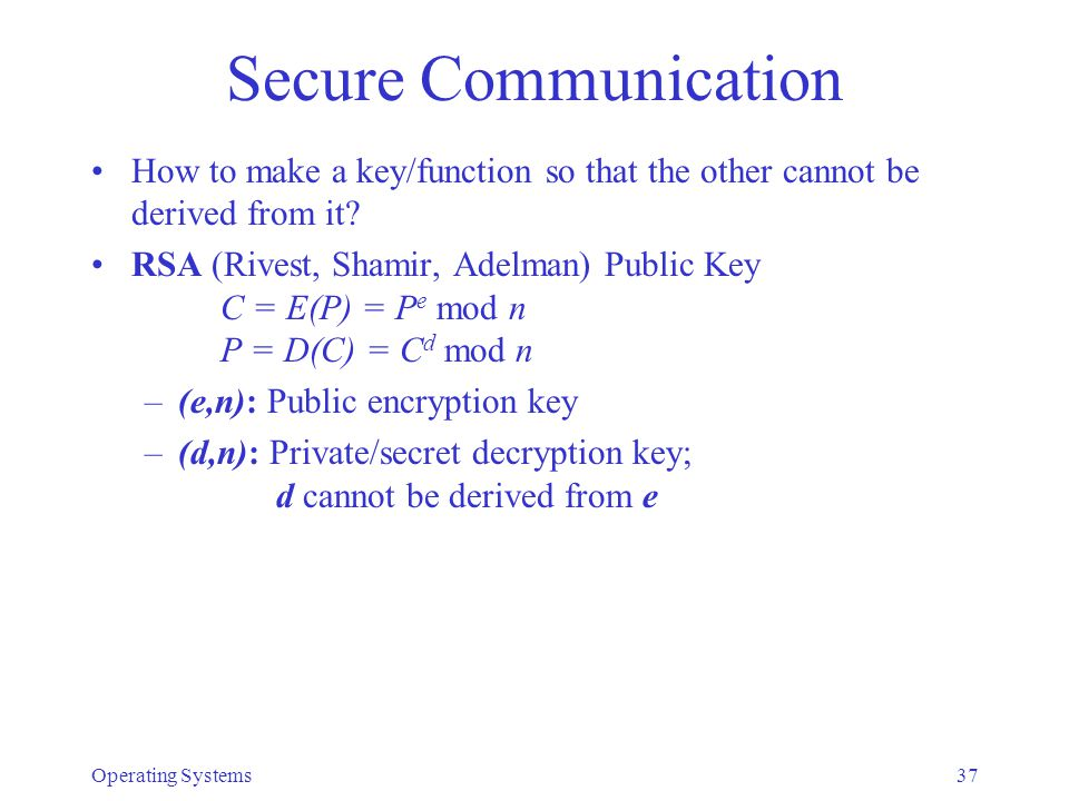 Secure Communication How to make a key/function so that the other cannot be derived from it