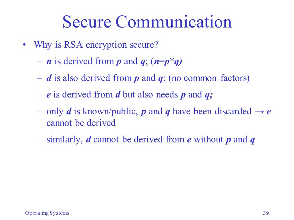 Secure Communication Why is RSA encryption secure