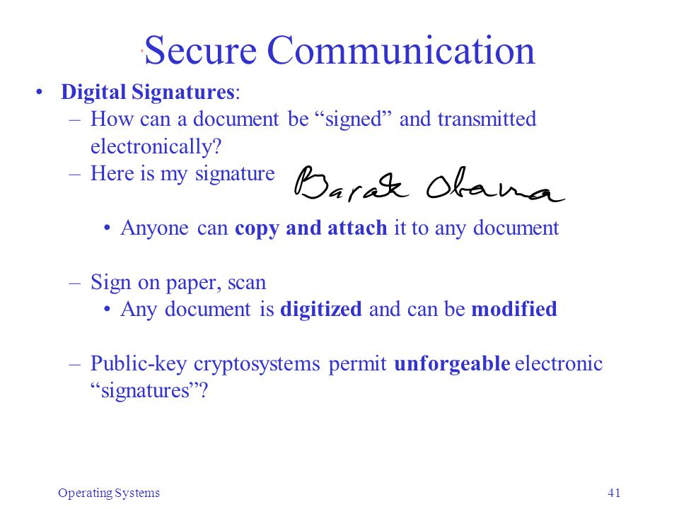 Secure Communication Digital Signatures: