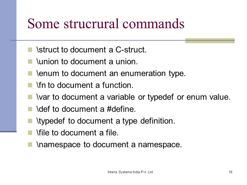 Some strucrural commands