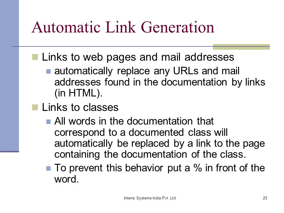 Automatic Link Generation