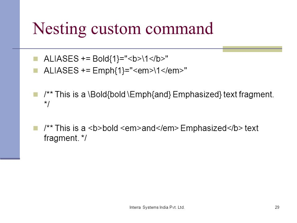 Nesting custom command