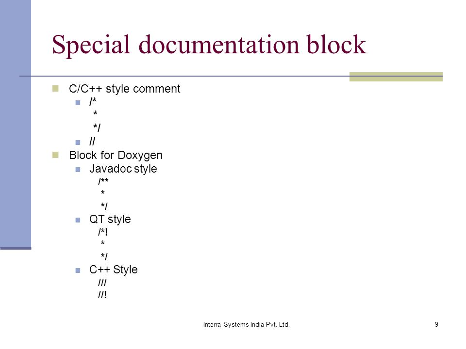 Special documentation block