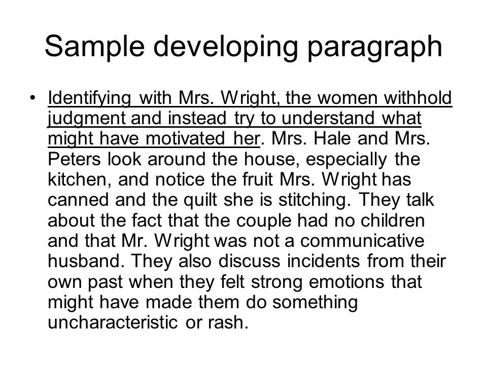 Sample developing paragraph