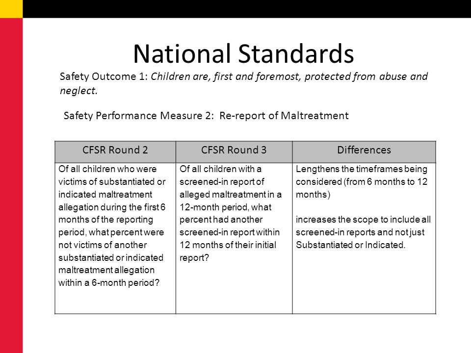 National Standards Safety Outcome 1: Children are, first and foremost, protected from abuse and neglect.